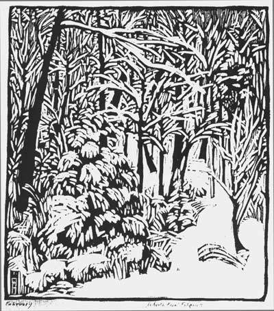 February. Woodcut illustration by Wharton Esherick